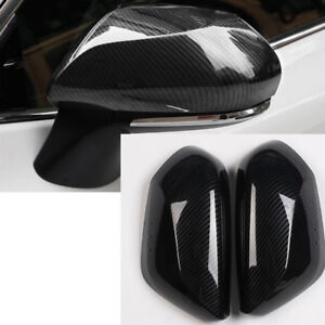 2PC Carbon Fiber ABS Side Door Rear View Mirror Cover Trim For Toyota Camry 2018