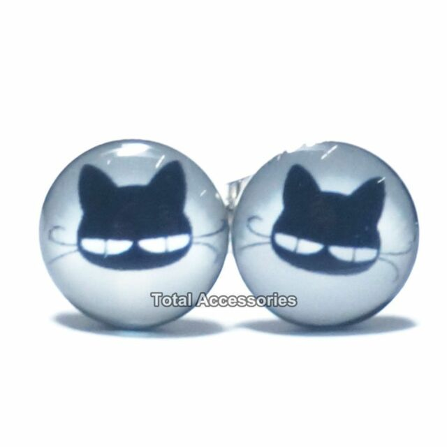 Lazy Eyed Cat Stainless Steel Stud Earrings - Mens Womens Fashion - New