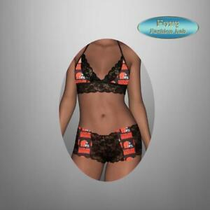 Sexy-NFL-Cleveland-Browns-black-lace-top-and-lace-boy-shorts-lingerie