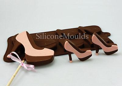 4 +1 Zapatos de tacón alto Zapatos De Mujer De Silicona Chocolate Candy Cookie Bar Molde Lolly Pan
