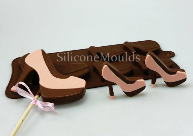 4+1 High Heel Shoes Stilettos Silicone Baking Chocolate Candy Bar Mould Lolly