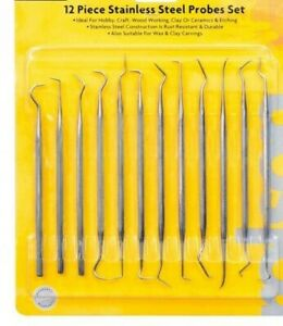 Sculpture Clay Ceramics Work Craft 12pc Stainless Steel Wax Carving Set