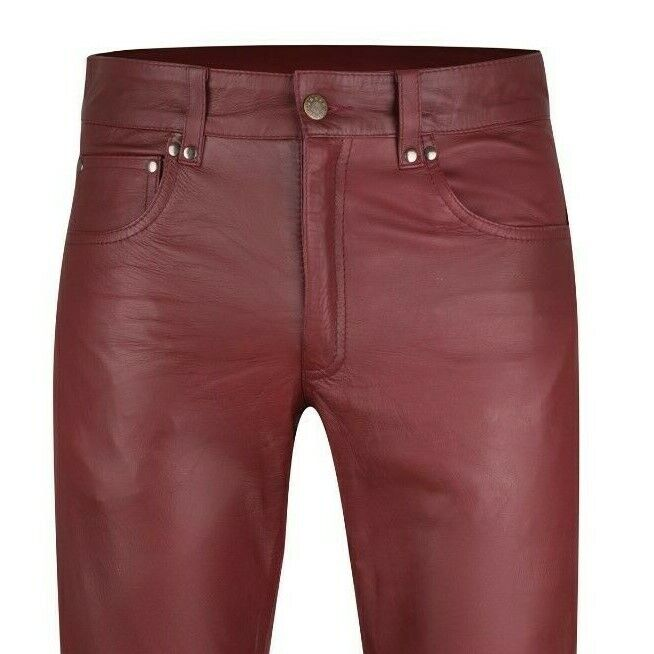 Men`s Leather trousers burgundy red leather pants new leather jeans Lederjeans