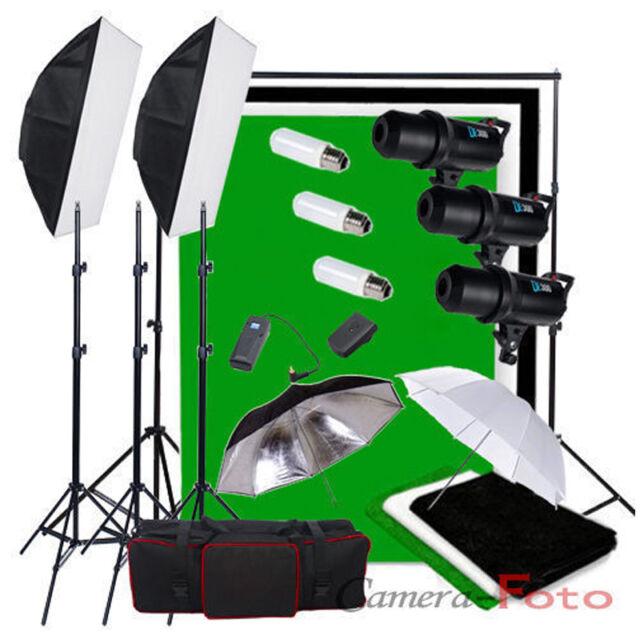 900W Studio Flash Lighting Kit Digital LED Cooling Fan 3 Cotton Background Stand