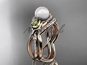 Diamond Tulip Engagement Ring 14k Rose Gold Pearl Wedding Ring Set