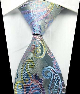 New Classic Paisleys Pink Yellow Blue JACQUARD WOVEN 100% Silk Men's Tie Necktie