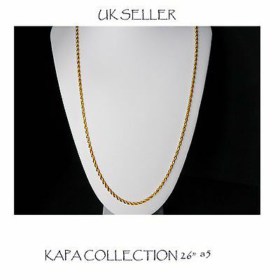 Gold plated Chain Men Womens 26 inch indian Necklace 2mm thick Curb Chain  A5