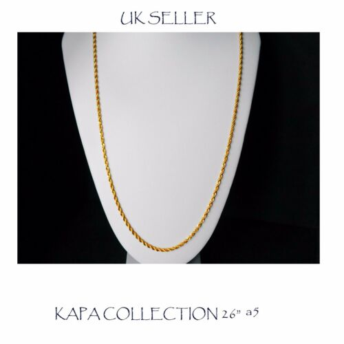 Cadena De Oro Plateado Hombre Mujer 26 pulgadas Indio Collar Cadenilla A5 2mm de espesor