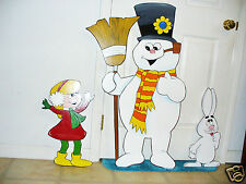 3-piece HAND MADE, HAND PAINTED FROSTY SET CHRISTMAS YARD ART DECORATION