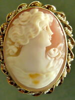 VICTORIAN SOLID 14K YELLOW GOLD CARVED CONCH SHELL CAMEO  PEARL FRAME PIN BROOCH