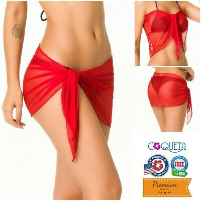 Coqueta Sexy Wrap Red Mini Pareo Cover up Sarong Canga Swimsuit Wrap Mesh Swim