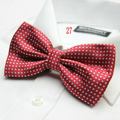 MENS Luxury 2 Layer BURGUNDY & WHITE Polka Dot Dickie Bow Tie Adjustable NEW