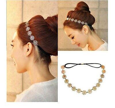 1PC Fashion Lovely Metallic Lady Hollow Rose Flower Elastic Hair Band Headband U