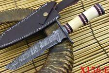 Custom Damascus Tactical Hunting Knife Handmade With Camel Bone Handle (X156-E)