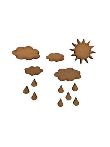 40x Tiempo De Sol Nubes Lluvia 3 Cm Madera Craft Embelishments Forma De Corte Láser Mdf