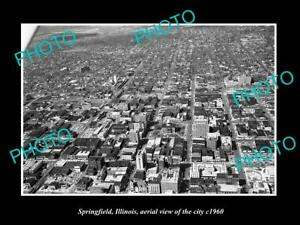 OLD-LARGE-HISTORIC-PHOTO-OF-SPRINGFIELD-ILLINOIS-AERIAL-VIEW-OF-THE-CITY-c1960