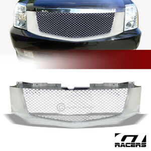For-2007-2014-Cadillac-Escalade-EXT-Chrome-Mesh-Front-Hood-Bumper-Grille-Guard