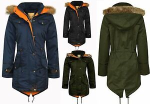 Womens-Ladies-Parka-Fur-Jacket-Coat-Oversized-Trench-Fishtail-Long-Hooded-Winter