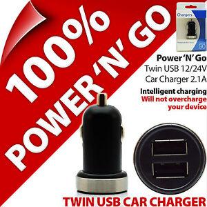 Pama Twin Port USB Car Charger 12/24V 2.1A Lighter Socket Smart Phones Tablets