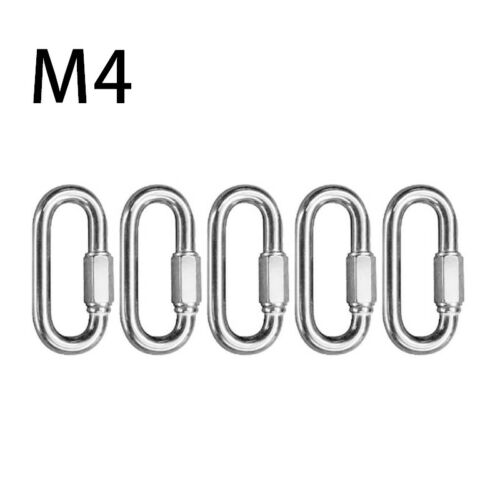 5X Stainless Steel Shackle Ring Quick Link Screwgate Carabiner Keychain Hook Set