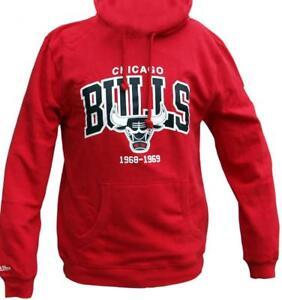 Cappuccio Uomo Scarlet Felpa Rosso Ness Mitchell con Hwc Arch Felpa Bulls Chicago Logo con Cappuccio x7wqUOwpBa