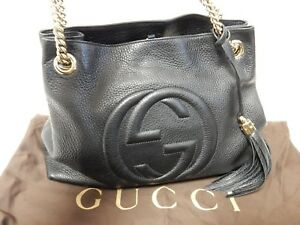 91abb16e3ccf77 Image is loading Authentic-Gucci-Soho-Interlocking-GG-Leather-Black-308982-