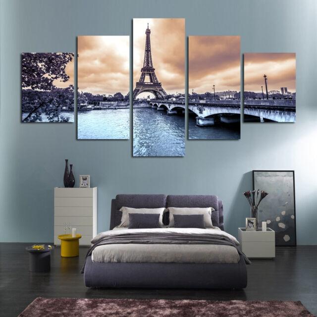 Romantic Paris Eiffel Tower Painting 5 Panel Canvas Print Wall Art