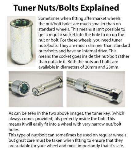 Tuner Bolts with Key 20 x M12 x 1.25 Zinni 28mm Thread