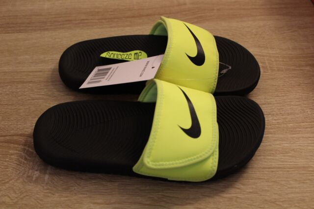 sports shoes 930b4 d3054 NEW Nike Kawa Adjust Slide Boy s Flip Flop Sandal in Volt Black