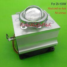 20W -100W LED Aluminium Heat Sink Cooling Fan+44mm Lens + Reflector Bracket kit