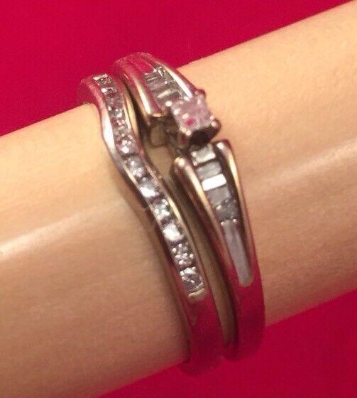 PRINCESS DIAMOND ENGAGEMENT WEDDING RING BRIDAL SET 14 10K WHITE gold
