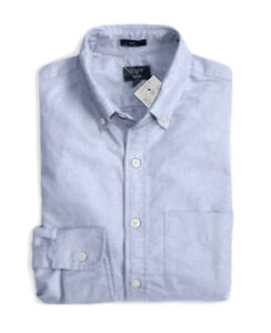 J-Crew-Factory-Men-039-s-L-Slim-Fit-NWT-Light-Blue-Oxford-Cotton-Shirt