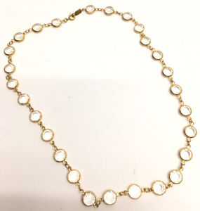 Vtg-Swarovski-Clear-Crystal-Necklace-Gold-Tone