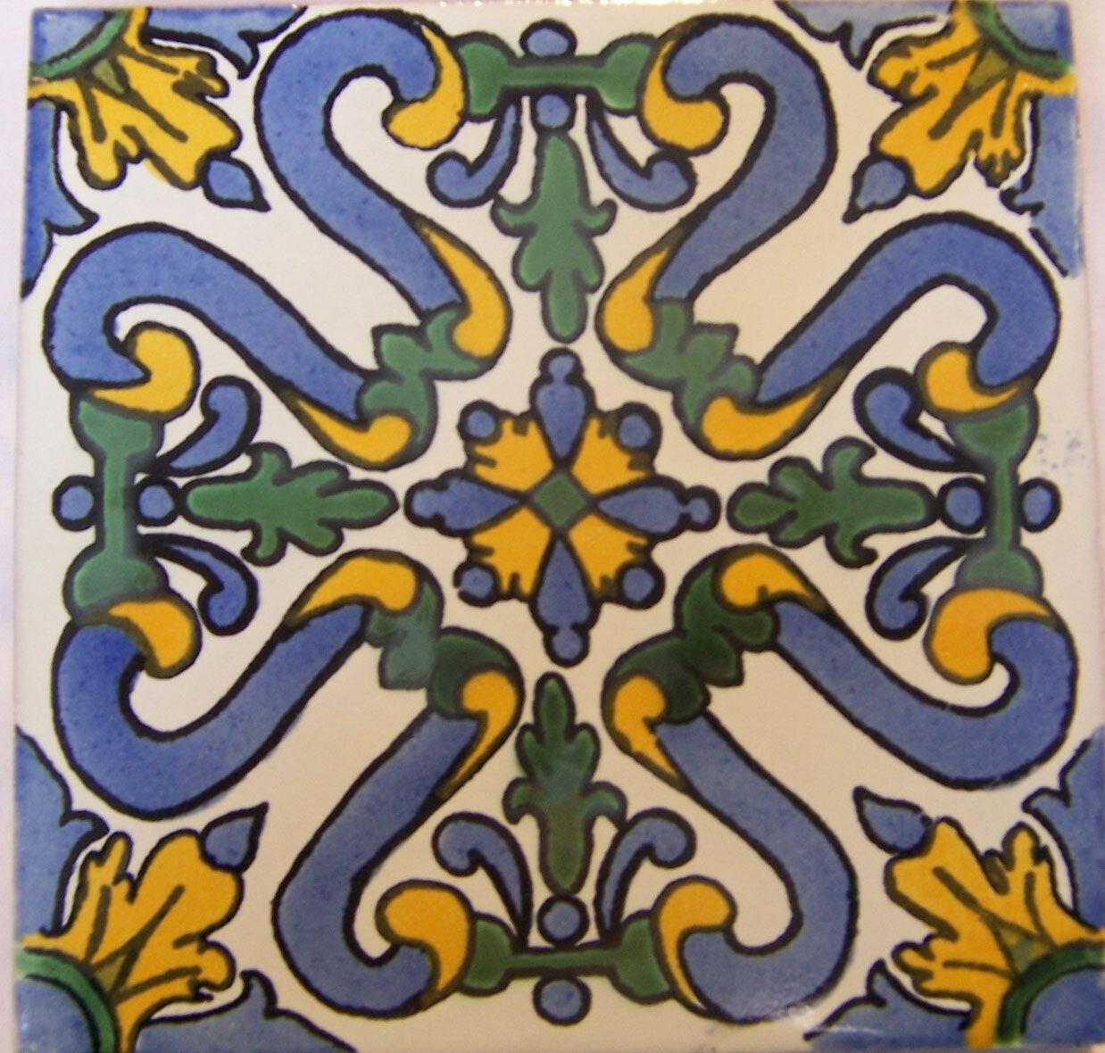 C270- Mexican Handmade Talavera Clay Tile Folk Art 4x4