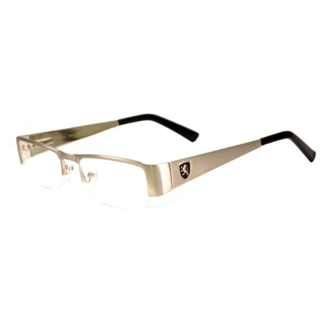 Khan Clear Lens Glasses Rectangular Frame Metal Silver Half Rim For Men 1028