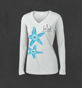 Ladies WhiteBlue Sea Star Performance Fishing Shirts