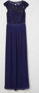 Ballkleid Gr 40 42 H M Np 79 Blau Lang Spitze Abendkleid Plissiert Chiffon Edel Ebay