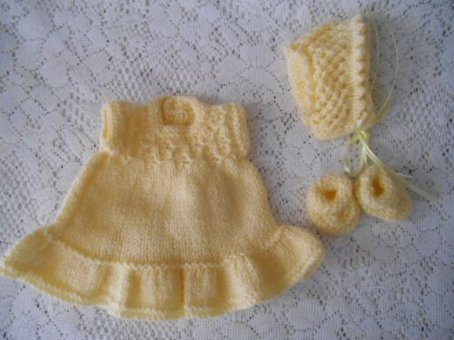 Doll Clothes Vintage Style Yellow Hand-knitted dress fit  Berenguer Heidi Ott 8""
