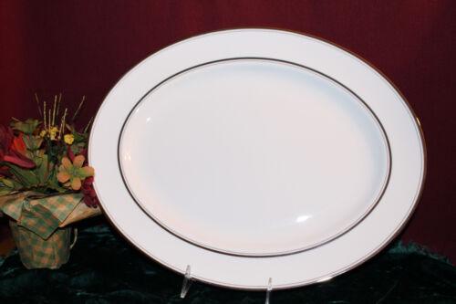 "Kate Spade Library Lane Platinum 16/"" Oval Serving Platter NEW USA second"
