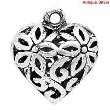 Antique Style Silver Tone Alloy Heart Hollow Flower Pendant Charm 5pcs 03177