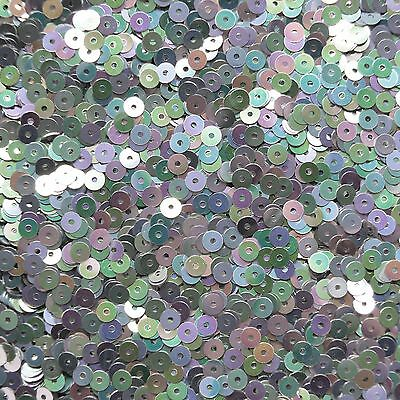 4mm Flat Sequin Paillette Loose ~ Silver Metallic Rainbow Iris ~ Made In Usa