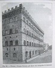 stampa antica FIRENZE PALAZZO FERRONI GIA SPINI ARCHITETTURA old print 1894