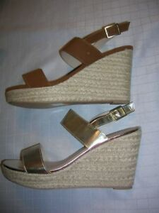 Womens-Shoes-size-12-Wedge-Platform-Strappy-Espadrille-Comfort-Tan-Gold