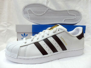 Image is loading New-Original-Adidas-Superstar-Classic-Trainers-Gold-Logo-