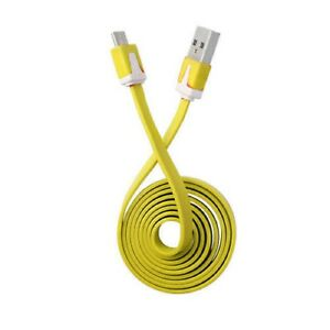 Yellow-Flat-Noodle-Micro-USB-Sync-Charger-Cable-For-Tesco-Hudl-2-Hudl-1