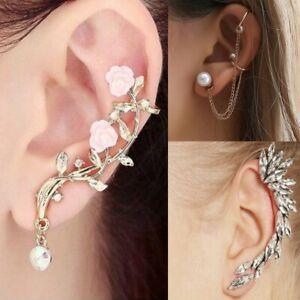 Women-039-s-Flower-Crystal-Tassel-Chain-Clip-Ear-Cuff-Stud-Punk-Cartilage-Earring
