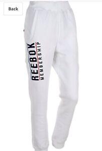 Para-Hombre-Reebok-Chandal-Blanco-Fitness-Pantalones-chicos-ejecutar-Chandal-Pantalones-Deportivos