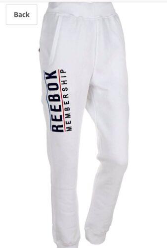 Mens Reebok Joggers White Fitness Trousers Boys Run Tracksuit Jogging Bottoms