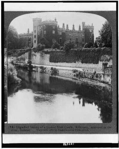 Photo:Typical Irish Castle,Kilkenny,Ireland,mirrored in the river,c1904