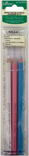 BLUE PACK OF 3 WATER SOLUBLE PENCIL ASSORTED WHITE PINK #5003 BY CLOVER